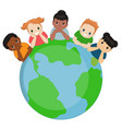 children around the earth children around the vector image