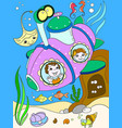 children exploring the underwater world in a vector image