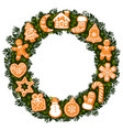 christmas wreath with gingerbread cookies round vector image vector image