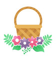 color basket with flowers on a white background vector image