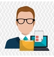computer user filing documents isolated icon vector image vector image