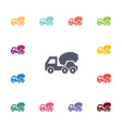 concrete mixer flat icons set vector image vector image