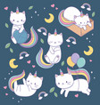 cute cats with rainbow tails kawaii characters vector image
