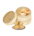 dim sum style of chinese cuisine prepared as small vector image vector image