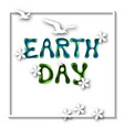 earth day greeting card template with hand drawn vector image vector image