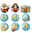 Fairytales characters and letters on round badges vector image vector image