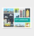 flat city landscape infographic concept vector image vector image