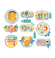 flat set of various seafood dishes boiled vector image