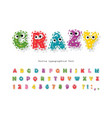 funny kids font with eyes cartoon fluffy colorful vector image vector image