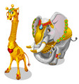 giraffe and elephant decorated precious jewelry vector image vector image