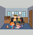 grandparent and grandchildren in living room vector image