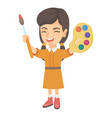 happy girl drawing with colorful paints and brush vector image vector image