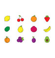 icon set fruits in modern style vector image