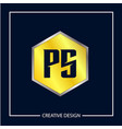 initial letter ps logo template design vector image