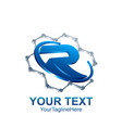 initial letter r logo template colored blue vector image vector image
