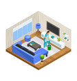 isometric house cleaning concept vector image vector image