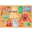 Lady clothes and accessories vector image vector image