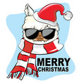 llama winter with santa hat cute design vector image vector image