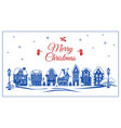 merry christmas retro city concept banner simple vector image