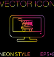 Monitor with symbol shopping cart icon online