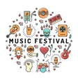 Music festival poster template musical collage vector image