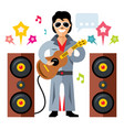 musician parody artist with a guitar rock vector image vector image