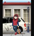 problem boy hit the car window vector image vector image