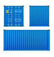 realistic bright blue cargo container set vector image vector image