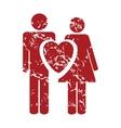 Red grunge love logo vector image