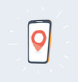 red location pin on phone screen vector image vector image