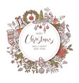 round merry christmas and happy new year banner vector image