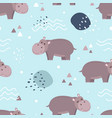 seamless pattern cute hippo vector image vector image