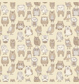 seamless pattern line owls stylized vector image