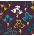 seamless pattern with bunches of tulips on a dark vector image vector image