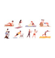 set diverse people training with sports vector image