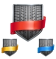 Set of Bright shield in the race tire inside with vector image vector image