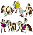set with girl and pony vector image vector image