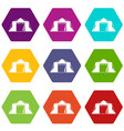 tent icon set color hexahedron vector image vector image