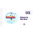 winter vacations activity website landing page vector image