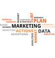 word cloud marketing plan vector image vector image
