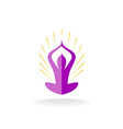 Yoga pose logo with sun rays vector image vector image