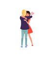young man and woman characters in love hugging vector image