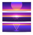 futuristic abstract banners with the sun on the vector image