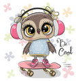 artoon owl on a skateboard with headphones vector image vector image