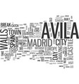 avila spain text word cloud concept vector image vector image
