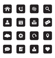 black flat web and technology icon set vector image vector image
