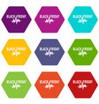 black friday pulse icons set 9 vector image vector image