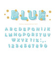 blue glossy font abc letters and numbers for vector image vector image