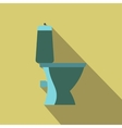 Blue toilet pan a side view flat design vector image vector image