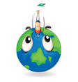 boy diving on earth globe vector image vector image
